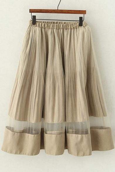 Beige Elastic Waist Tulle Hem Pleated Midi Skirt