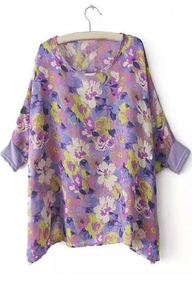 Loose Scoop Neck Floral Print Batwing Sleeve Dip Hem Blouse