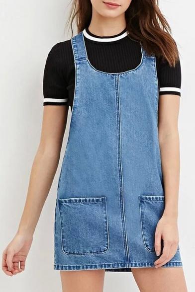 0d13cabd65 Plain Simple Design Straps Two Pockets Front Mini Denim Overall Dress -  Beautifulhalo.com