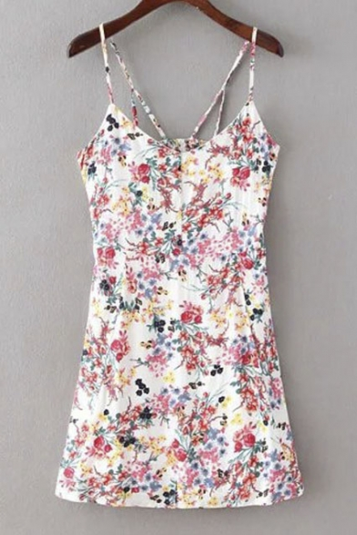 Floral Print Strappy Back Cotton Cami Dress