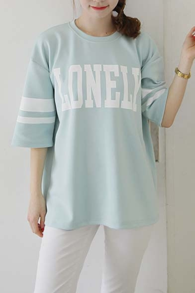 Letter Print Cotton Stripes 3/4 Sleeves Loose-Fit T-Shirt