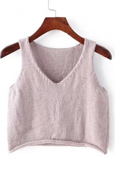 V-Neck Sleeveless Cropped Plain Knit Vest