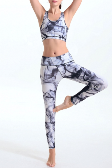 d75ec52e0f ... Women's Print Tight-Fitting Scoop Neck Crop Top with High Stretchy Yoga  Leggings Co- ...