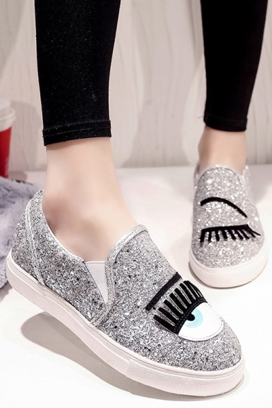 Women s Shoes Sneakers Synthetic Flat Heel Comfort Loafers With Bling Bling  Sequins Embellish ... ebafbc6e0