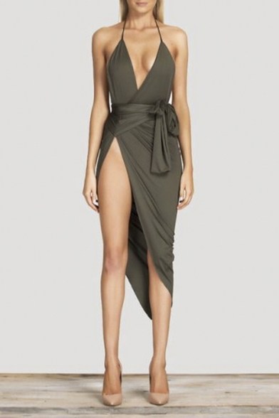 High Low Plunge Neckline Tie Waist Dress