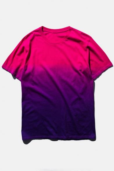 Ombre Round Neck Short Sleeve  Cotton T-Shirt