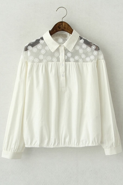 Paneled Collar Half Placket Gathered Hem Blouse