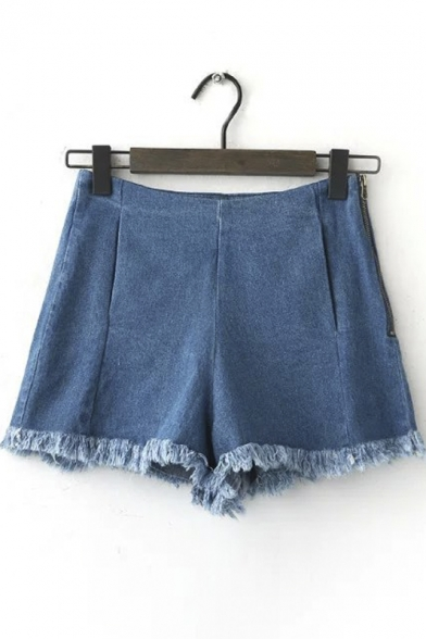 Plain High Waist Fray Hem Zipper Side Denim Hot Shorts