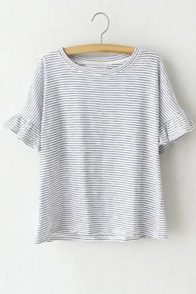 Scoop Neck Half Sleeve With Ruffle Trim Embellish Striped Loose T-Shirt