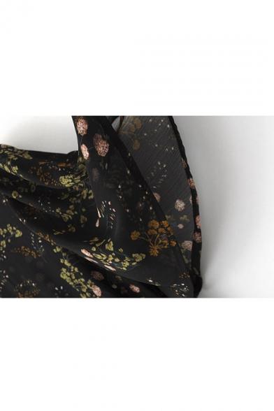 Sheer Vintage Floral Print Bell Sleeves Chiffon Midi Dress