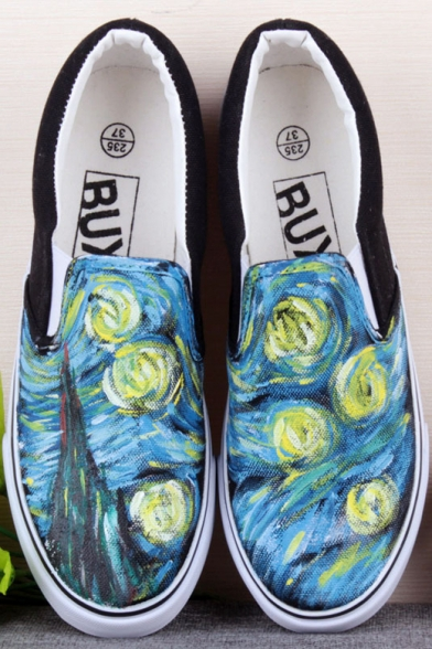 Abstract Chic Hand-Painted Canvas Round Toe Platform Girl's Sneakers