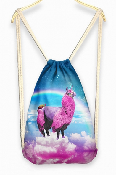 Girl's Fashion Linen Drawstring Backpack with Alpaca Over the Clouds