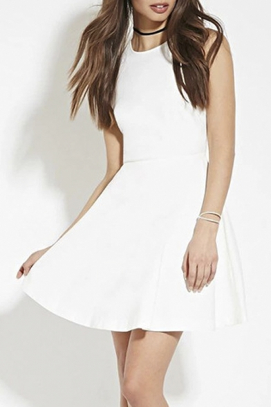 b449b5c1bb13 Round Neck Simple Fashion Plain A-Line Midi Skater Dress With Cut Out Back  ...
