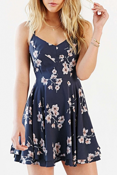 Baycheer / Vintage Floral Print Crisscross Back Cami Dress