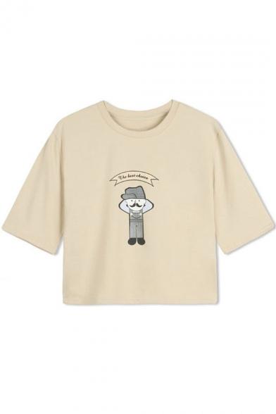 Cartoon Print Round Neck cotton Cropped T-Shirt
