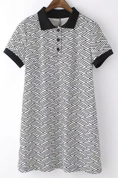 Geo-patterned Contrast Collar 1/4 Placket Dresses