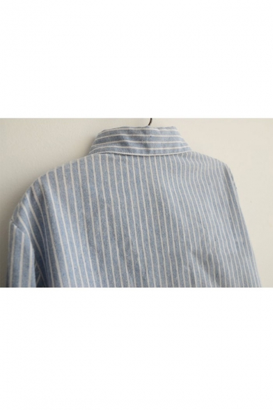 Down Long amp;Blouse Button Shirts Lapel Sleeves Striped Loose 1I6wqzxn5