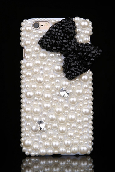 Adorable 3D Bow Pattern with Pearls Rhinestone Design White Case for iPhone