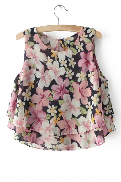 Spring Fashion Sweet Round Neck Sleeveless Ruffle Hem Floral Print Short Blouse&Tops