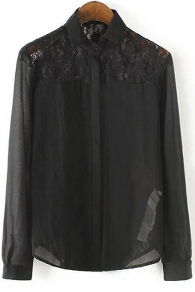Sheer Lace Insert Lapel Long Sleeves Plain Shirt