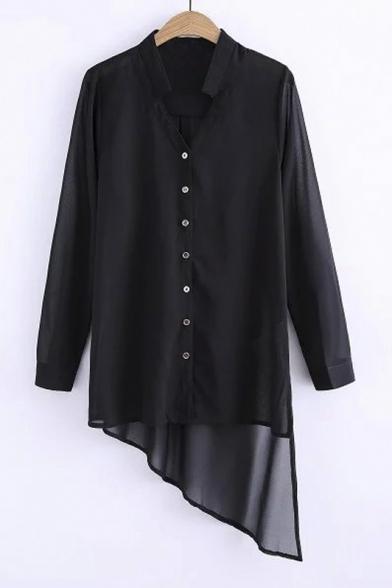 Fashion Black Stand Up Collar Button Down Long Sleeve High Low Asymmetrical Hem Long Shirt&Blouse