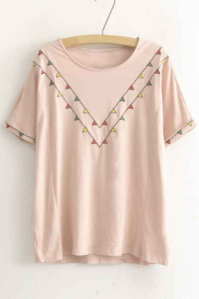 Loose Scoop Neck Short Sleeve Tee with Geometric Print