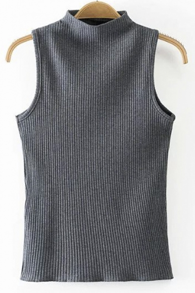 Plain High Neck Sleeveless Skinny Knit Vest&Tank Top