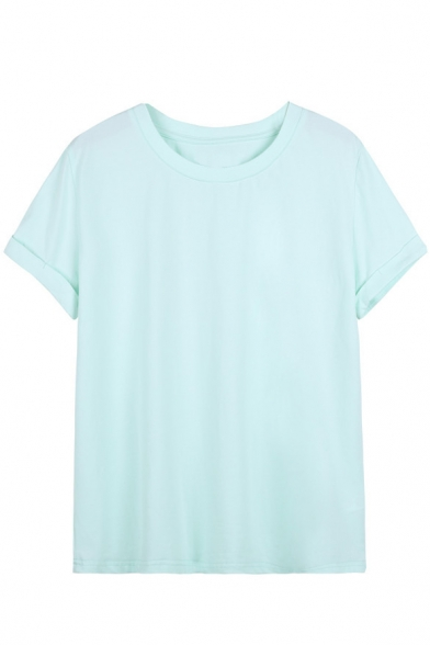 Round Neck Plain Short Roll Sleeves Tee