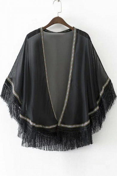 Comfortable Chiffon Blend Open-Front Loose Tassel Trim Ethnic Kimono