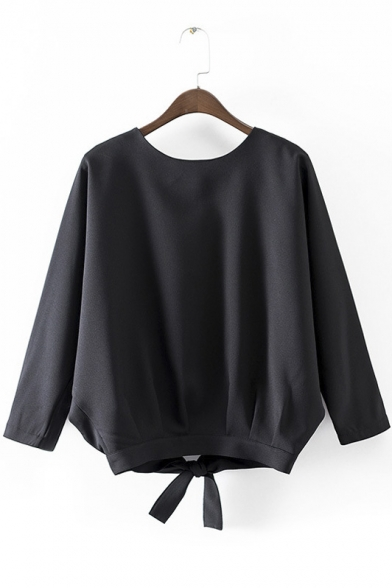 Round Neck Simple Fashion Long Sleeve Plain Slash Back Tie-Hem Loose Blouse&Tops