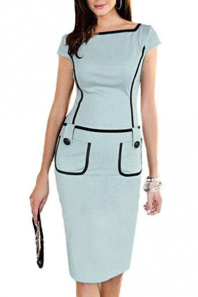 Square Neck Pocket Contrast Short Sleeve Bodycon