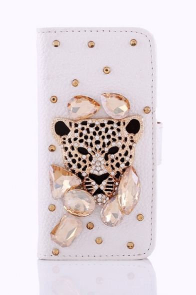 Wallet Style Leopard Pattern Crystal PU Leather White Case for iPhone