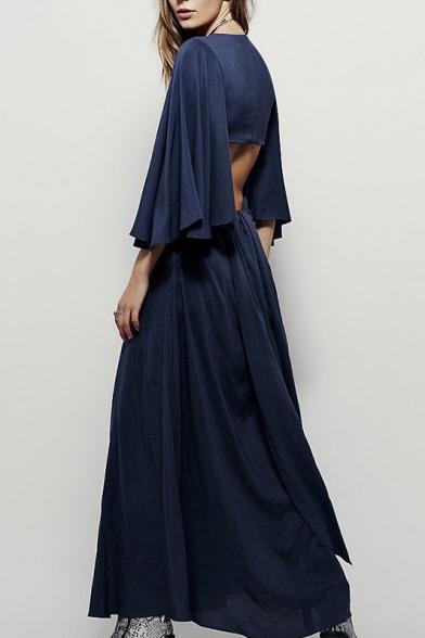 bfc8fe8500b5 ... Fashional Design V-Neck Long Loose Bell Sleeve Cut Out Back Maxi Plain  Dress ...