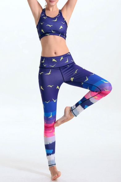cdac5a1c24 ... Women's Print Tight-Fitting Scoop Neck Crop Top with Colorful Stretchy  Yoga Leggings Co- ...