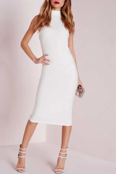 White bodycon dress knee length