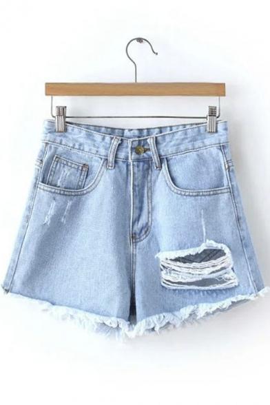 Raw Selvedge Ripped Mid Rise Denim Shorts
