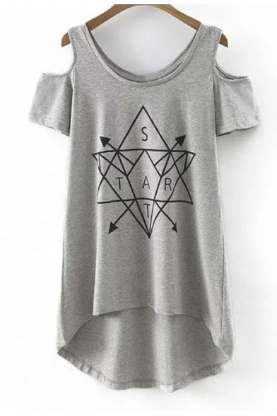 Double Round Neck Cut Out Sleeves High Low Print Tee
