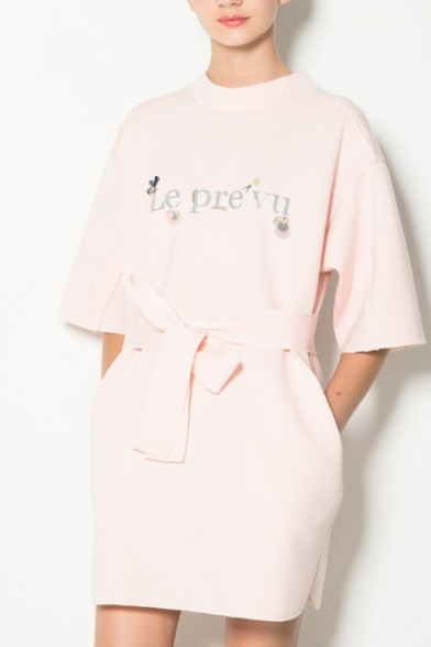 Sweet Pearl Pink Letter Print Longline T-Shirt Dress with Sash