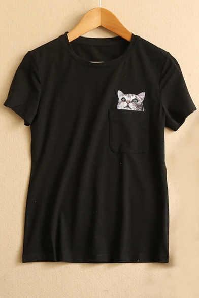 College Girl Style Pocket Cat Print Round Neck Tee