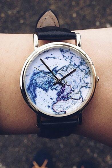World Map Watch World Map Women's Watches   Beautifulhalo.com World Map Watch