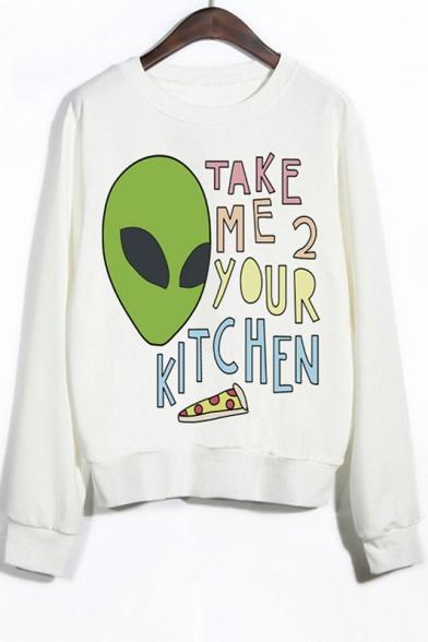 Crew Neck Long Sleeves Alien Print Graphic Sweatshirt