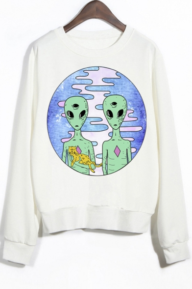 Crew Sleeves Alien Print Neck Sweatshirt Ribbed qzwq87Z