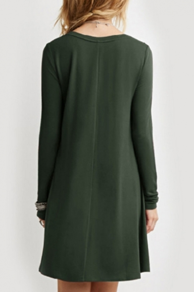 Round Neck Long Sleeve T-shirt Loose Mini Dress