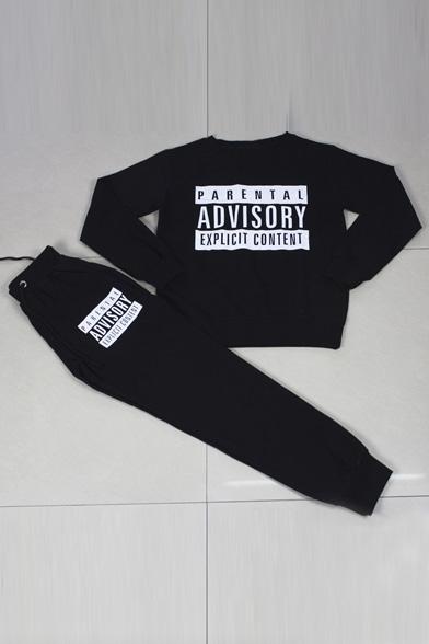 Fashion Women Letter Print Long Sleeve Sweatshirt & Sports Pants Suits