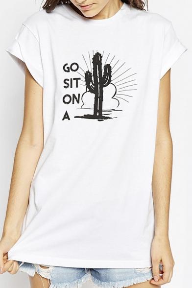 Short Top Sleeves Cactus Round Cuffed Basic Neck pxU4qwxYt