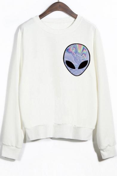 Crew Neck Long Sleeves Alien Print Sweatshirt