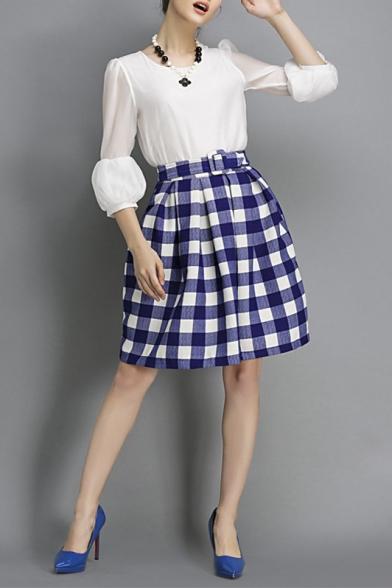 Inverted Pleated Bud Plaid Knee Length Skirt