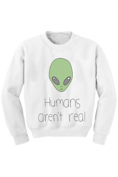 Neck Long Crew Sweatshirt Graphic Sleeves Print Alien RA88qd