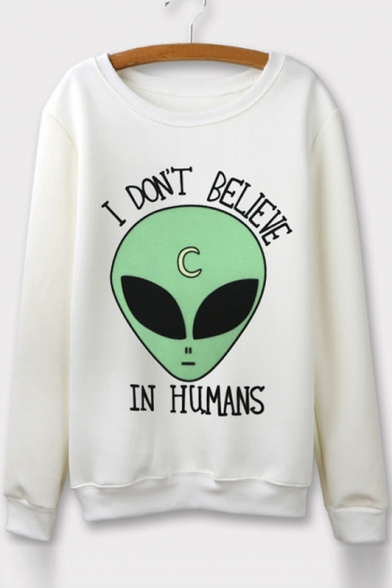 Crew Neck Long Sleeves Alien Print Graphic Sweatshirt