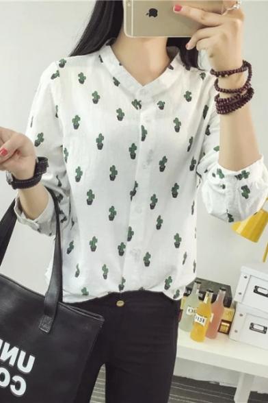 5a057ff6 Fashion Women Basic Button Downs Cactus Print Shirt - Beautifulhalo.com